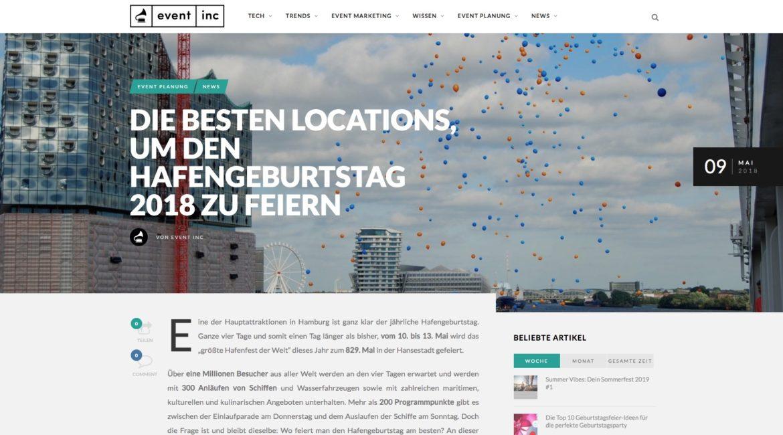 DIE BESTEN LOCATIONS, UM DEN HAFENGEBURTSTAG 2018 ZU FEIERN